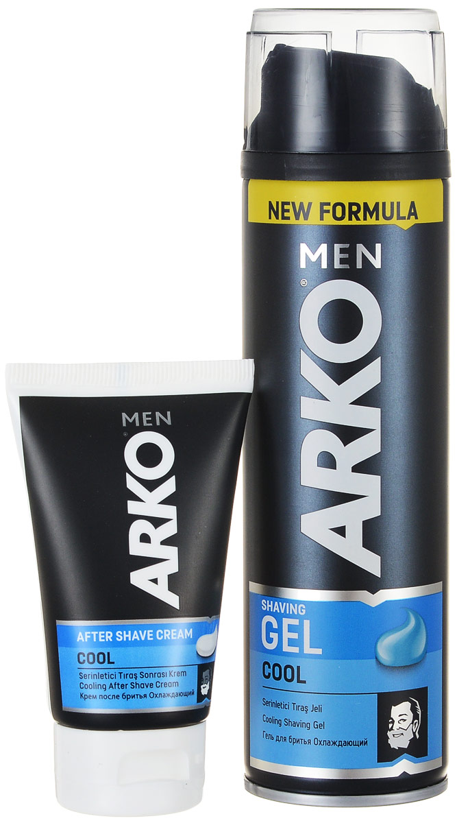 Arko Men Гель для бритья Cool 200мл+Arko Men Крем после бритья Cool 50мл 50%80053550305Гель для бритья уменьшает риск возникновения жжения кожи от бритья, благодаря формуле алое вера и маслом лаванды, для мужчин с чувствительной кожей.