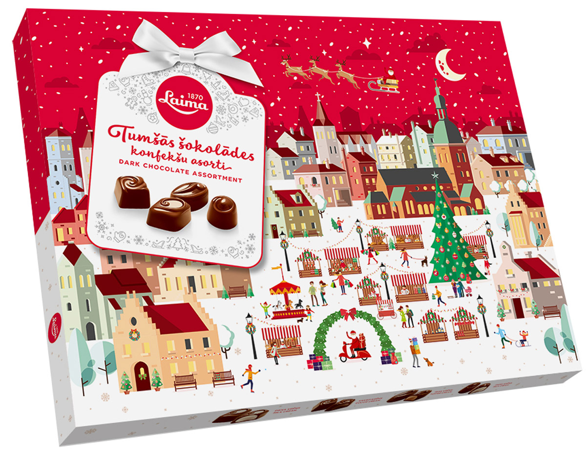 Laima Новогоднее Ассорти конфет в темном шоколаде, 720 г nuts bank крем арахисовый с какао 250 г