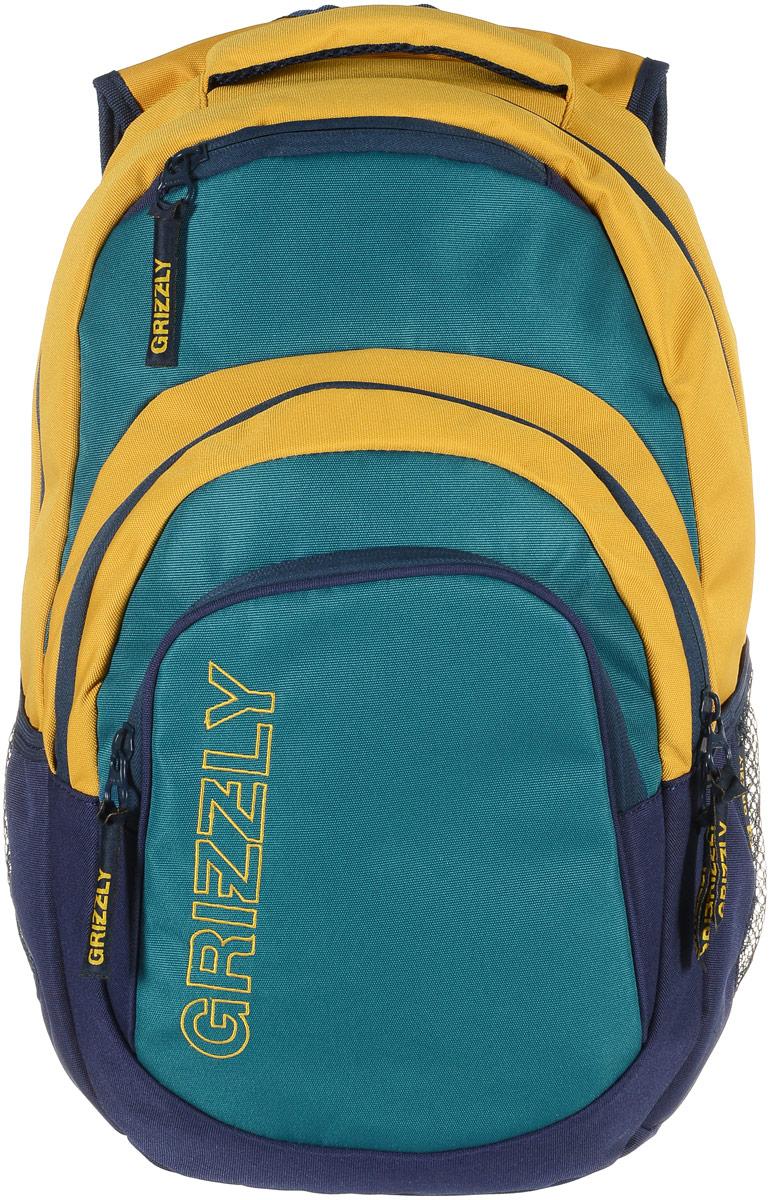 Grizzly Рюкзак цвет синий зеленый RU-704-1/3RU-704-1/3_синий, зеленыйРюкзак Grizzly - это красивый и удобный рюкзак, который подойдет всем, кто хочет разнообразить свои будни. Рюкзак выполнен из плотного яркого материала. Рюкзак имеет два основных отделения, которые закрываются на застежки-молнии. Первое отделение содержит внутри открытый мягкий карман на хлястике с липучкой. Второе отделение содержит карман-сетку на молнии и три маленьких открытых кармашка.На лицевой стороне рюкзака вверху и внизу расположены дополнительные карманы на молниях. По бокам рюкзак дополнен открытыми кармашками на резинках.Рюкзак оснащен широкой ручкой для переноски и грудной стяжкой ремней. Широкие лямки можно регулировать по длине. Многофункциональный рюкзак станет незаменимым спутником вашего ребенка.