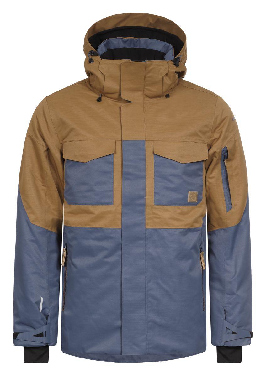 Куртка мужская Icepeak Kanye, цвет: синий, коричневый. 656229576IV. Размер 50656229576IVКуртка Icepeak Kanye, изготовленная из водоотталкивающей и ветрозащитной ткани, которая создает оптимальный микроклимат внутри куртки, утеплена полиэстером (100 г/м2). В качестве подкладки используется полиамид. Помимо этого здесь использовался утеплитель Super soft touch, состоящий из множества слоев тончайших волокон, которые обеспечивают отличную термоизоляцию, но не утяжеляют изделие. Куртка с воротником-стойкой и капюшоном застегивается на молнию с ветрозащитным клапаном на кнопках и липучках. Капюшон пристегивается при помощи кнопок и молнии. Рукава дополнены внутренними эластичными манжетами с прорезью для большого пальца. Также манжеты дополнены хлястиками на липучках. С внутренней стороны у модели предусмотрена снегозащитная юбка. Спереди куртка дополнена двумя врезными карманами и двумя накладными карманами с клапанами на липучках, а с внутренней стороны расположены один накладной карман из сетчатой ткани и втачной карман на молнии. На левом рукаве предусмотрен карман для ski pass, а под рукавами оформлено отверстие на змейке для дополнительной вентиляции. Низ куртки дополнен кулиской со стопперами.