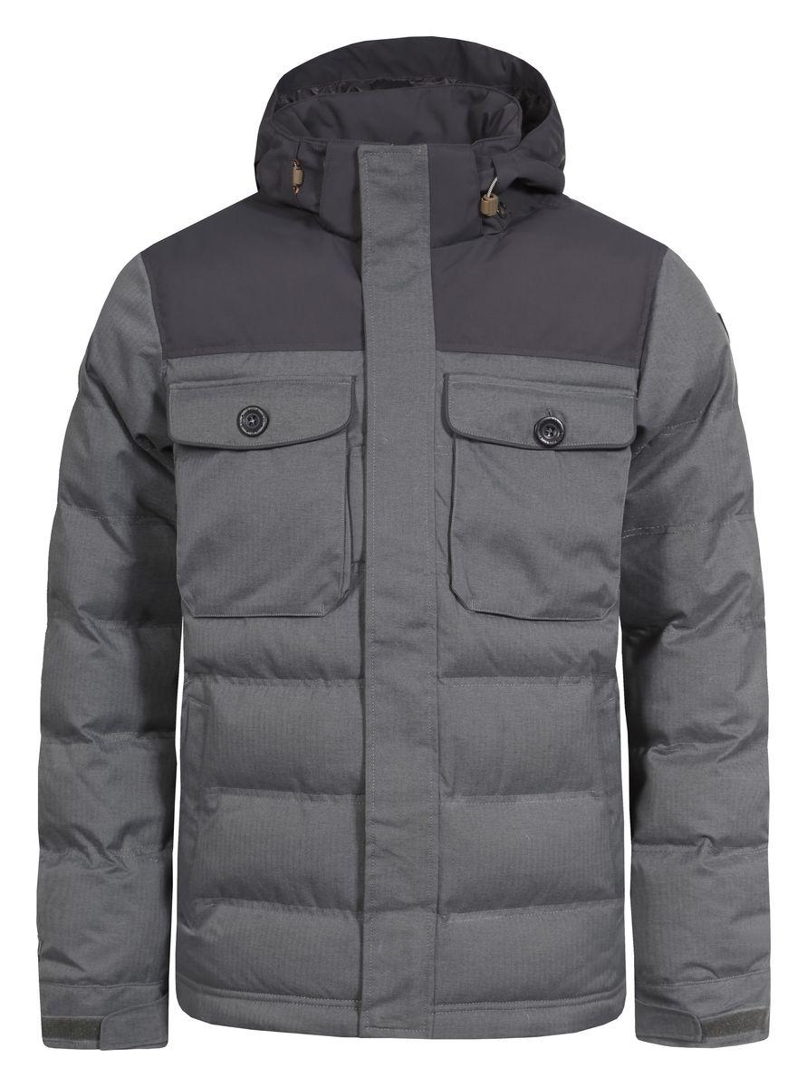 Куртка мужская Icepeak Timon, цвет: серый. 656039592IV. Размер 48656039592IVКуртка Icepeak Timon, изготовленная из водоотталкивающей и ветрозащитной ткани, которая создает оптимальный микроклимат внутри куртки, утеплена полиэстером (100 г/м2). Помимо этого здесь использовался утеплитель Super soft touch, состоящий из множества слоев тончайших волокон, которые обеспечивают отличную термоизоляцию, но не утяжеляют изделие. Куртка с воротником-стойкой и съемным капюшоном застегивается на молнию с ветрозащитным клапаном на кнопках. Капюшон пристегивается при помощи кнопок и регулируется с помощью эластичной резинки со стопперами. Манжеты рукавов дополнены хлястиками на липучках. Спереди куртка оформлена двумя втачными карманами на кнопках и двумя накладными с клапанами на кнопках, а с внутренней стороны расположены один накладной карман из сетчатой ткани и один втачной на молнии. Низ куртки дополнен кулиской со стопперами.