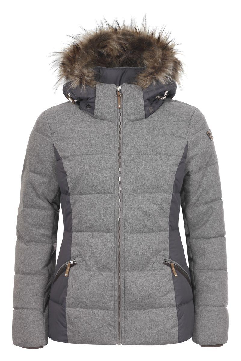 Куртка женская Icepeak Tiffi, цвет: серый меланж. 653045562IV. Размер 40 (46)653045562IVЖенская куртка Icepeak Tiffi, изготовленная из водоотталкивающей и ветрозащитной ткани, которая создает оптимальный микроклимат внутри куртки, утеплена синтепоном. Наполнитель -изготовленный из полиэстера материал Super Soft Touch, состоящий из множества слоев тончайших волокон, которые обеспечивают отличную термоизоляцию, но не утяжеляют изделие. Куртка с воротником-стойкой и съемным капюшоном застегивается на молнию. Капюшон, оформленный искусственным мехом, пристегивается при помощи кнопок и молнии и регулируется с помощью эластичной резинки со стопперами. Рукава оснащены внутренними трикотажными манжетами. Спереди куртка дополнена двумя втачными карманами на застежках-молниях, а с внутренней стороны расположены один накладной карман-сетка и один втачной карман на молнии. Низ куртки дополнен шнурком-кулиской со стопперами.