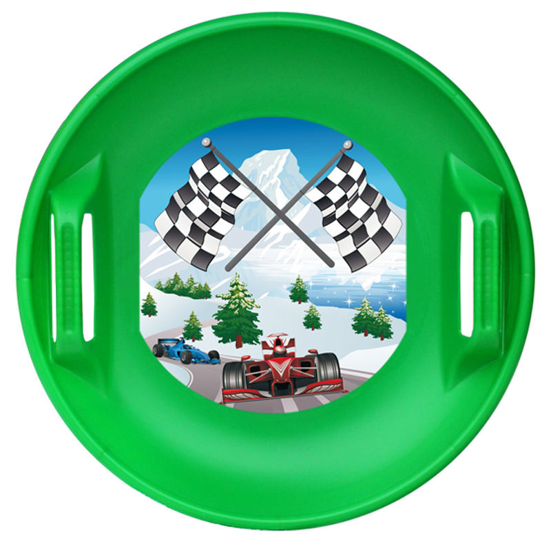 Ледянка Цикл Форсаж. Машинки, цвет: зеленый20620Ледянка пластиковая. Рисунок «Гоночные автомобили». Размер ледянки: 470?470?95 мм. Глубина ледянки: 65 мм. Нагрузка: не более 90кг. Возраст: от 5 лет.