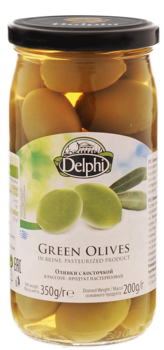 Delphi Оливки с косточкой в рассоле, 350 г amado зеленые оливки с косточкой со специями по арабски крупные 350 г