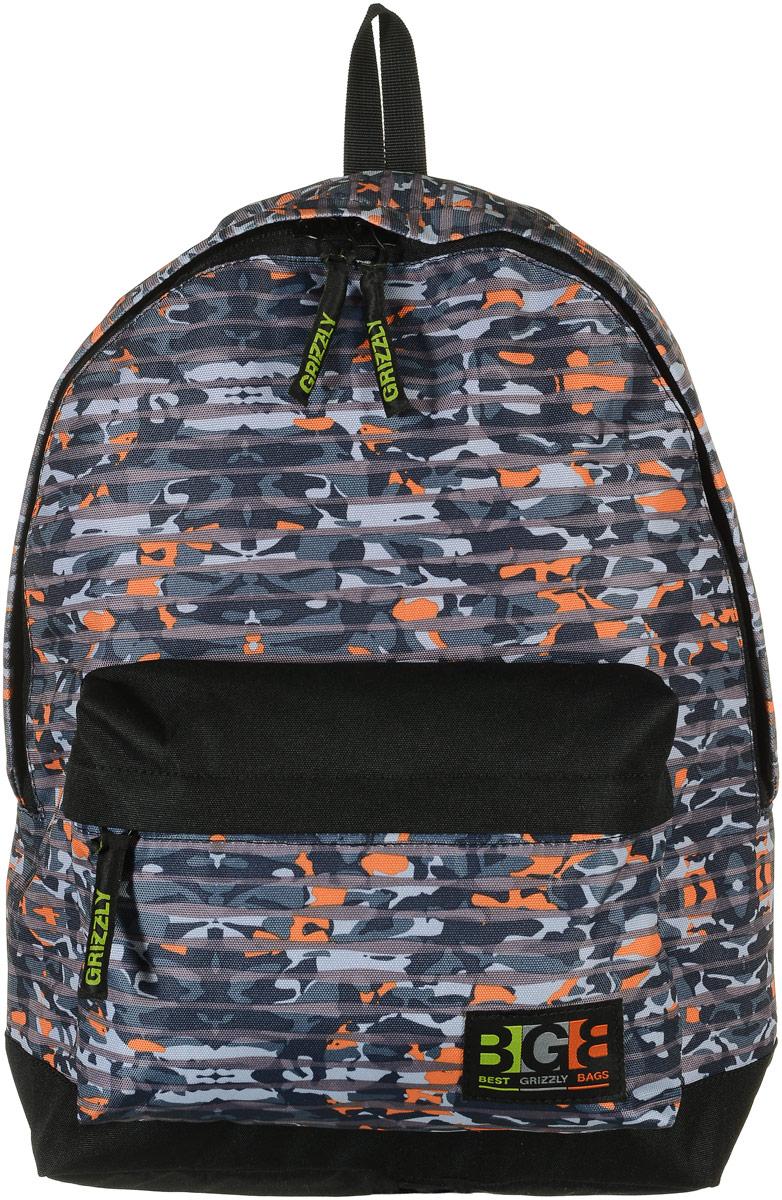 Grizzly Рюкзак цвет черный серый оранжевый RU-704-4/6RU-704-4/6_оранжевыйРюкзак Grizzly - это красивый и удобный рюкзак, который подойдет всем, кто хочет разнообразить свои будни. Рюкзак выполнен из плотного материала с принтом граффити. Рюкзак имеет одно основное вместительное отделение на молнии с двумя бегунками. Отделение содержит внутри открытый накладной карман и врезной карман на молнии. На лицевой стороне рюкзака расположен накладной карман на молнии. Бегунки застежек дополнены удобными держателями с логотипом Grizzly. Рюкзак также оснащен текстильной ручкой для переноски или подвешивания. Широкие лямки можно регулировать по длине. Многофункциональный рюкзак станет незаменимым спутником вашего ребенка.