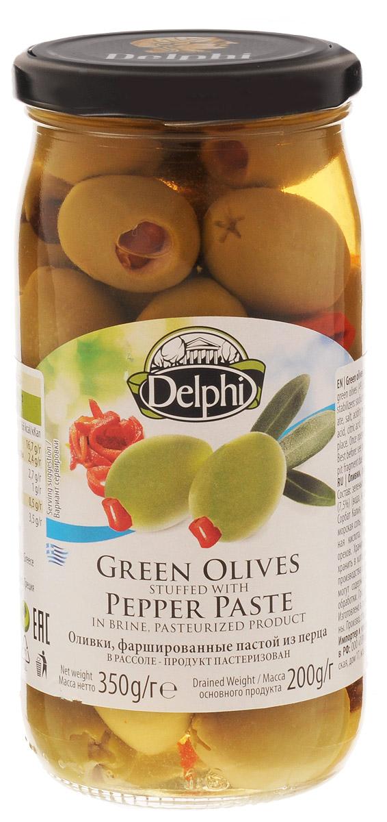 Delphi Оливки фаршированные пастой из перца в рассоле, 350 г korvel натуральные зеленые оливки фаршированные миндалем супер колоссал 290 г