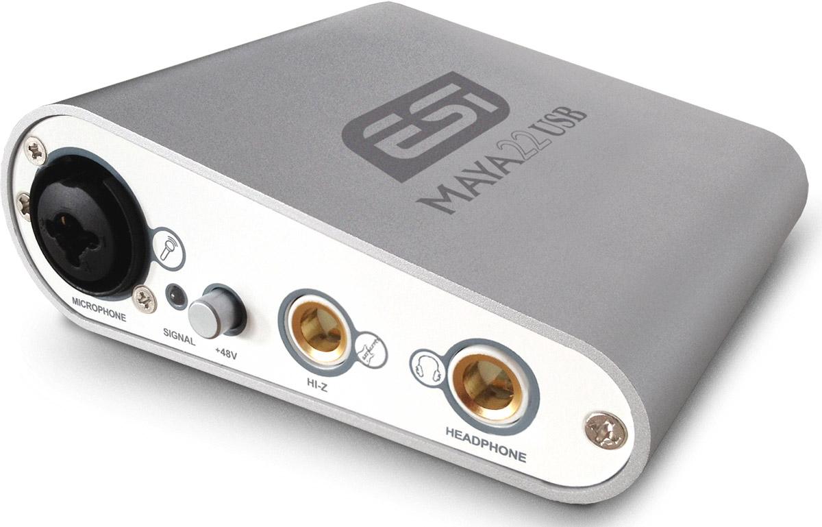 ESI MAYA22 USB аудиоинтерфейсMAYA22Несмотря на свою миниатюрность, аудиоинтерфейс ESI MAYA22 USB предлагает весь набор разъемов для подключения, включая микрофонный вход XLR/TRS с кнопкой фантомного питания +48 В и полноценные балансные выходы TRS.Модельрассчитана на интерфейс USB 2.0 и полностью питается от шины. Имеется поддержка форматов до 24 бит 96 кГц. Фирменные драйвера DirectWIRE для звукозаписи в комплекте, всё управление полностью программное, из панели звуковой карты.Поддерживаемые ОС:Windows XP, Windows Vista, Windows 7, Windows 8.1 and Windows 10; Mac OS X 10.4