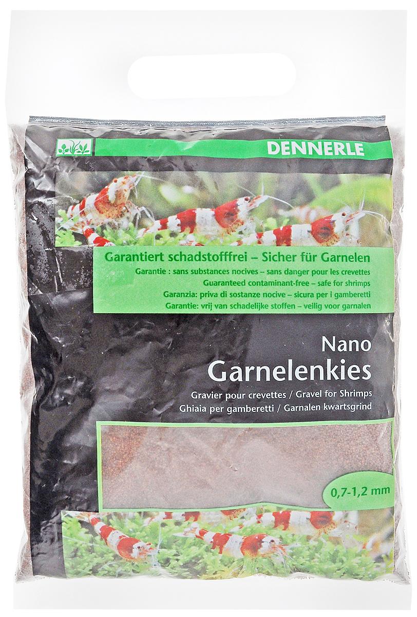 Грунт для аквариума Dennerle Nano Garnelenkies, натуральный, цвет: темно-коричневый, 0,7-1,2 мм, 2 кг грунт для аквариума dennerle color quarz натуральный цвет красный 1 2 мм 5 кг