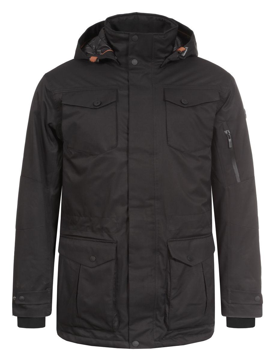 Куртка мужская Luhta Paavo, цвет: черный. 636562838LV. Размер XL (54)636562838LVМужская куртка Luhta Paavo с длинными рукавами и съемным капюшоном на кнопках выполнена из полиэстера. Наполнитель - синтепон. Куртка застегивается на застежку-молнию спереди и имеет ветрозащитный клапан на кнопках. Изделие оснащено двумя накладными карманами с клапанами на кнопках, двумя втачными карманами на застежках-молниях, втачным карманом с клапаном на пуговице спереди, внутренним накладным карманом на пуговице и втачным карманом на молнии, а также небольшим втачным карманом на застежке-молнии. Рукава дополнены внутренними трикотажными манжетами. Объем капюшона регулируется при помощи шнурка-кулиски. Низ и талия изделия также оснащены шнурками-кулисками.