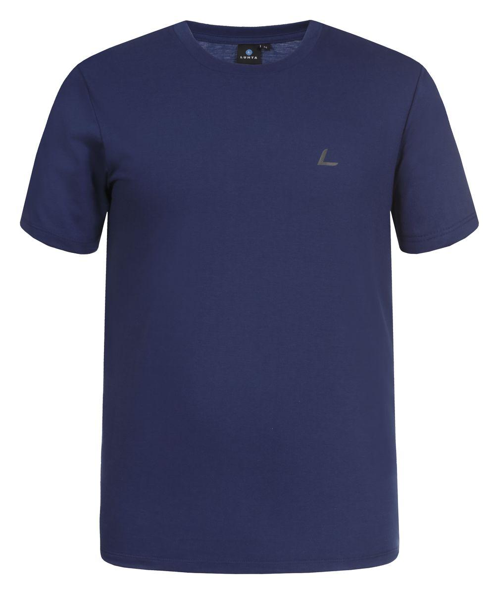 Футболка мужская Luhta Okko, цвет: синий. 636548689LV. Размер S (48)636548689LVМужская футболка Luhta Okko выполнена из полиэстера с хлопком. Модель с круглым вырезом горловины и короткими рукавами.