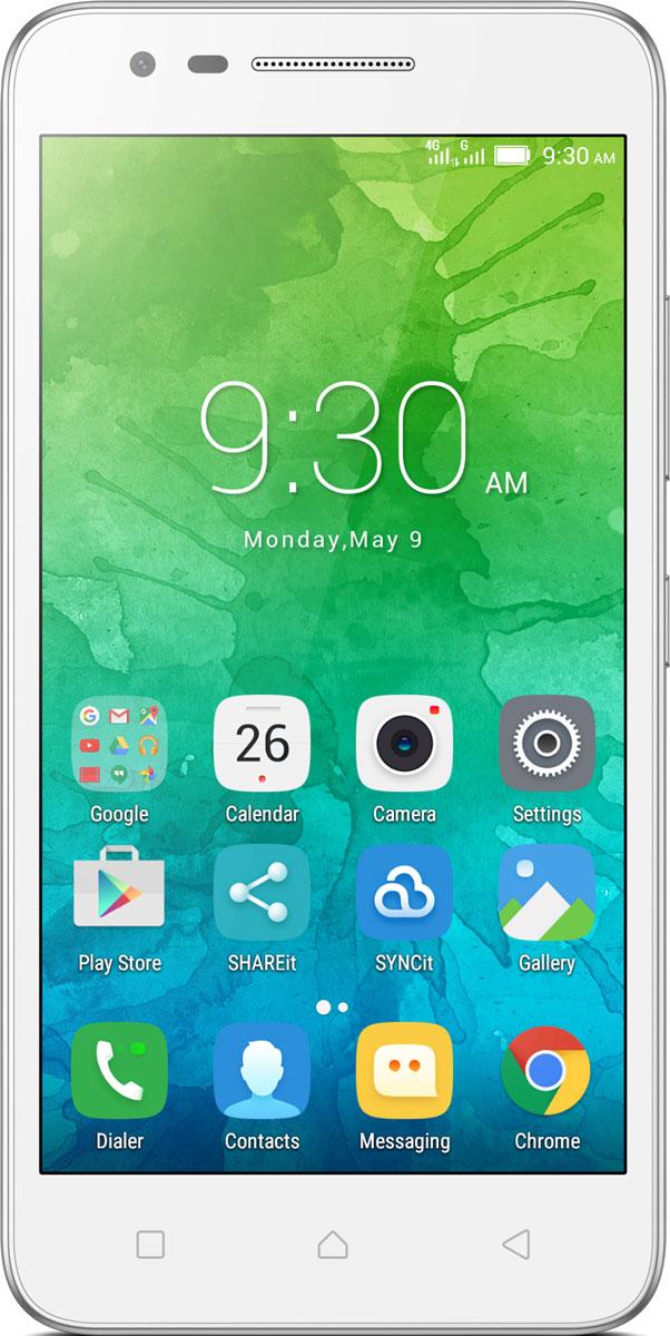 Lenovo C2 Power (K10a40), WhitePA450104RUОтличные смартфоны обычно стоят дорого. Но этого нельзя сказать о Lenovo C2. Стильный смартфон с 5-дюймовым экраном HD, мощным четырехъядерным процессором и двумя камерами высокого разрешения — и все это в стандартной комплектации. Помимо доступной цены и поддержки стандарта 4G, в этом смартфоне есть сменный аккумулятор, слот для карт памяти MicroSD и поддержка Dual SIM.Стильное матовое покрытие и 5-дюймовый дисплей с HD-разрешением: смартфон Lenovo C2 просто нельзя не заметить. Но главной его отличительной особенностью является доступная цена. Смартфон доступен в двух цветах: черном и белом.Узнавай новости и получай необходимую информацию одним движением, не переключаясь между приложениями и не сворачивая экран. Благодаря технологии энергосбережения смартфон работает дольше. Используй приложения и переключайся между ними так, как тебе удобно. Все эти задачи и многие другие возможности доступны благодаря операционной системе Android 6.0 (Marshmallow).Lenovo C2 обеспечивает высочайший уровень производительности с первых минут использования. Благодаря четырехъядерному процессору 1,0 ГГц ты можешь легко выполнять несколько задач одновременно и использовать все возможности устройства в полную силу — от музыкальных приложений и видеоканалов в Интернете до социальных сетей.В дополнение к интерфейсам Bluetooth, Wi-Fi и GPS, смартфон Lenovo C2 может подключаться к сетям LTE (4G) для передачи файлов с высокой скоростью. В нем также реализована поддержка двух SIM-карт, что позволяет использовать два разных телефонных номера в одном смартфоне.Любимый фильм или личный плей-лист — ты оценишь высочайшее качество звука благодаря встроенному усилителю и технологии Waves MaxxAudio в смартфоне Lenovo C2.В смартфоне Lenovo C2, разработанном с учетом активного образа жизни современного человека, очень легко заменить аккумулятор. Просто извлеки разряженный аккумулятор, вставь запасную батарею — и продолжай использовать устройство.Если встроенной 