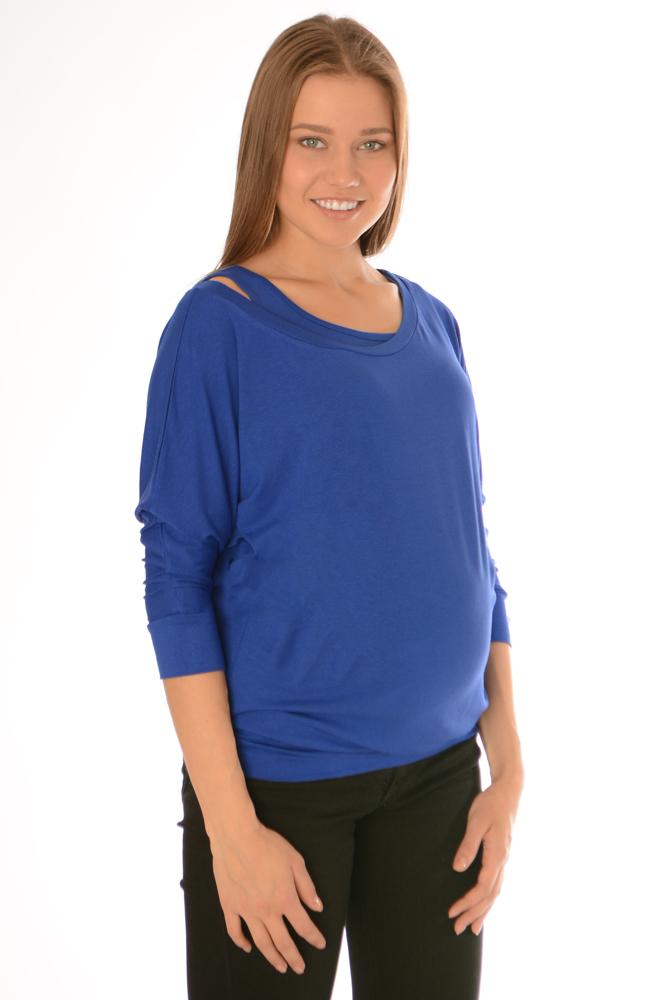 Блуза для беременных и кормящих Ням-Ням, с топом, цвет: васильковый. 221.6. Размер 50221.6Стильная, яркая, удобная блуза для будущих и кормящих мам Ням-Ням с рукавами 3/4, изготовленная из эластичной вискозы, женственна и элегантна. Блуза на широком поясе с рукавом летучая мышь позволит выглядеть очаровательно в любой день. Рукава дополнены широкими манжетами. Для удобства кормления в комплекте идет короткий топ-майка, который, при желании, можно использовать отдельно от блузы. Эту модель можно носить во время беременности и после родов. Вискоза является волокном, произведенным из натурального материала - целлюлозы (древесины). Иногда ее называют древесный шелк. Эта ткань на ощупь мягкая и приятная, образует красивые складки. Материал очень хорошо впитывает влагу, не образует катышек со временем, не выцветает на солнце и обладает приятным шелковистым блеском.