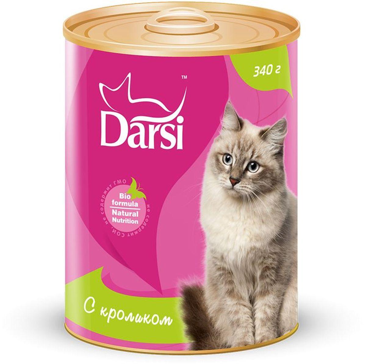 Консервы для кошек Darsi, с кроликом, 340 г. 92359235Полнорационный консервированный корм для кошек в виде фарша.