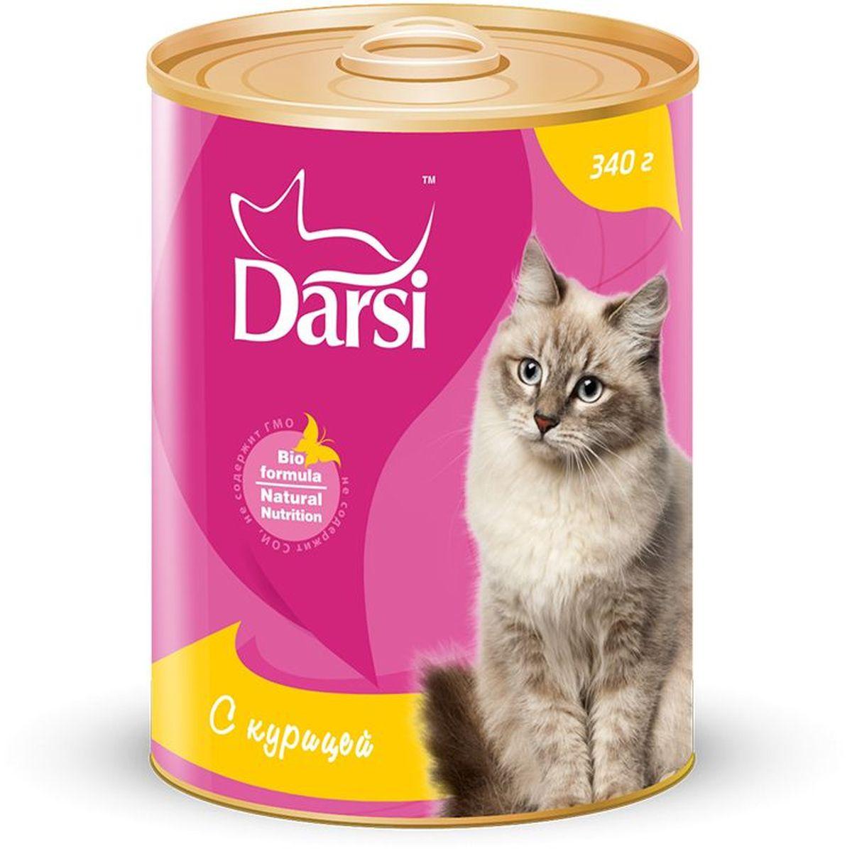 Консервы для кошек Darsi, с курицей, 340 г. 92599259Полнорационный консервированный корм для кошек в виде фарша.