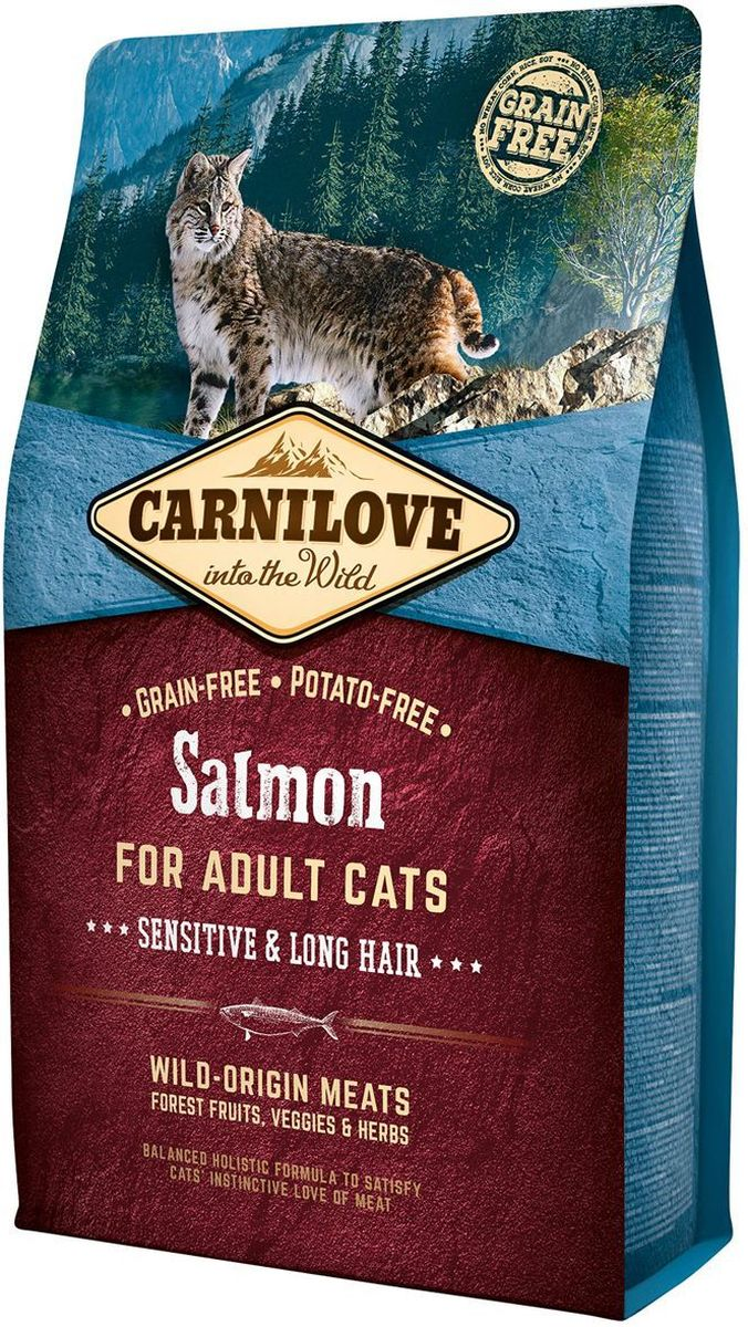 Корм сухой Carnilove, для кошек, беззерновой, с лососем, 2 кг512287Полнорационный беззерновой корм Carnilove с лососем разработан для взрослых кошек. Чувствительность и длинная шерсть - формула без злаков и картофеля для взрослых кошек с чувствительным пищеварением и длинношерстных кошек.Состав: мука из лосося (30%), желтый горох (17%), филе лосося (16%), мука из сельди (14%), куриный жир (консервирован токоферолами, 9%), куриная печень (3%), рыбий жир лососевых рыб (3%), крахмал из тапиоки (2%), яблоки (2%), морковь (1%), льняное семя (1%), нут (1%), гидролизованные раковины ракообразных (источник глюкозамина, 0.026%), экстракт хряща (источник хондроитина, 0.016%), пивные дрожжи (источник маннанолигосахаридов, 0.016%), корень цикория (источник фруктоолигосахаридов, 0.012%), юкка шидигера (0.01%), водоросли (0.01%), подорожник (0.01%), тимьян (0.01%), розмарин (0.01%), орегано (0.01%), клюква (0.0008%), голубика (0.0008%), малина (0.0008%).