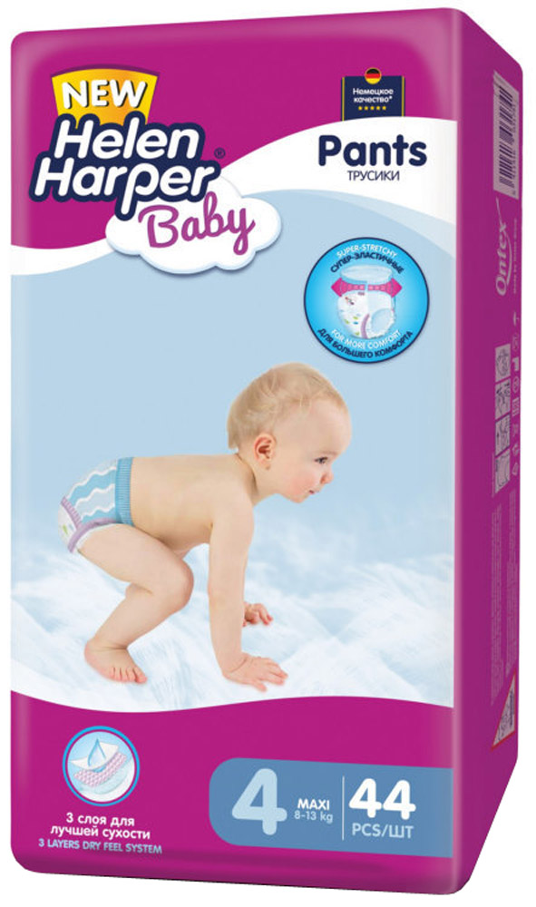 Helen Harper Подгузники-трусики Baby Maxi 8-13 кг 44 шт розовый тысячелистник цвет