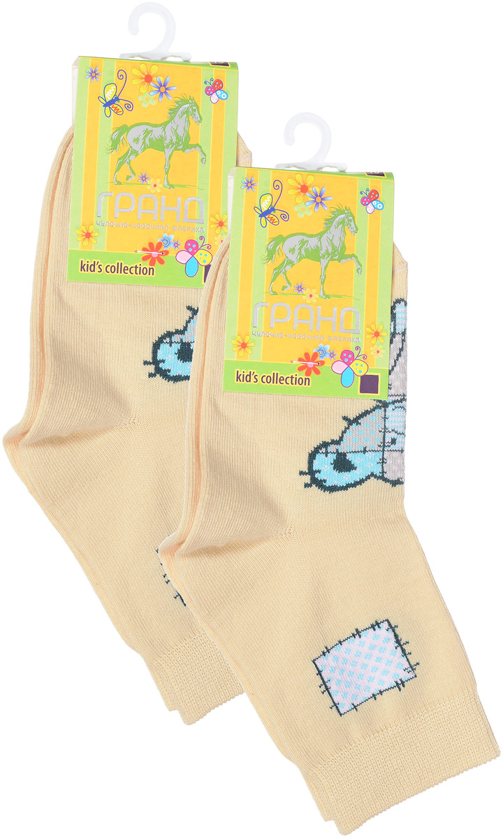 Носки детские Гранд, цвет: бледно-желтый, 2 пары. YCL41. Размер 16/18YCL41Яркие детские носки Гранд, изготовленные из высококачественного хлопка с добавлением полиамида и эластана, обеспечат тепло ногам и великолепную посадку. Носки оформлены оригинальным принтом. Удобная резинка идеально облегает ногу и не пережимает сосуды, удлиненный паголенок придает более эстетичный вид. Мыс и носок усилены. В комплект входят две пары носков.