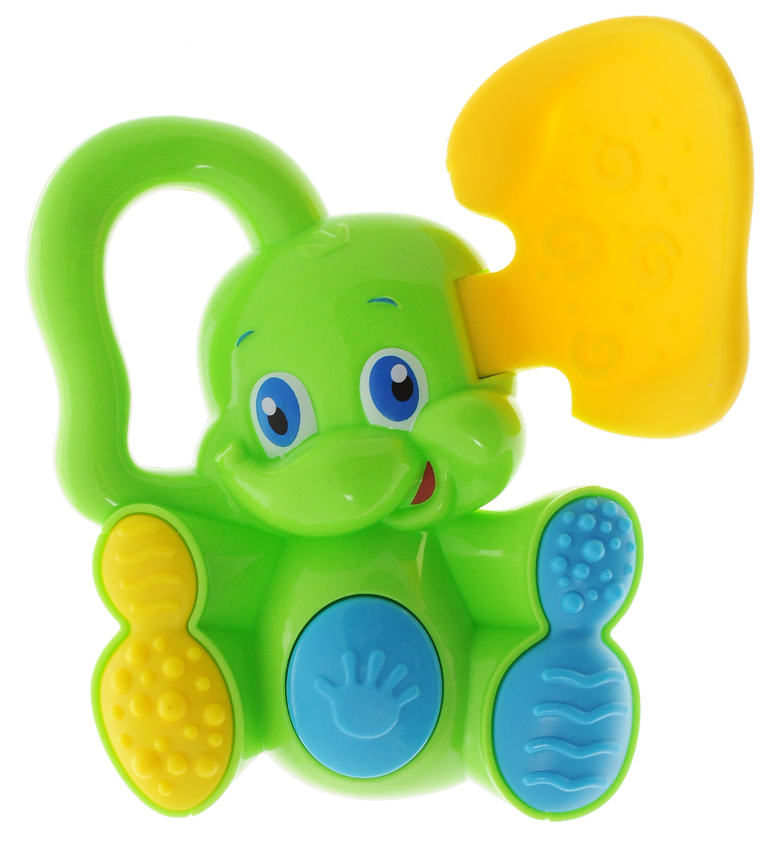 Bondibon Погремушка Слоненок с прорезывателем цвет салатовый желтый bondibon мягкая игрушка погремушка слоник