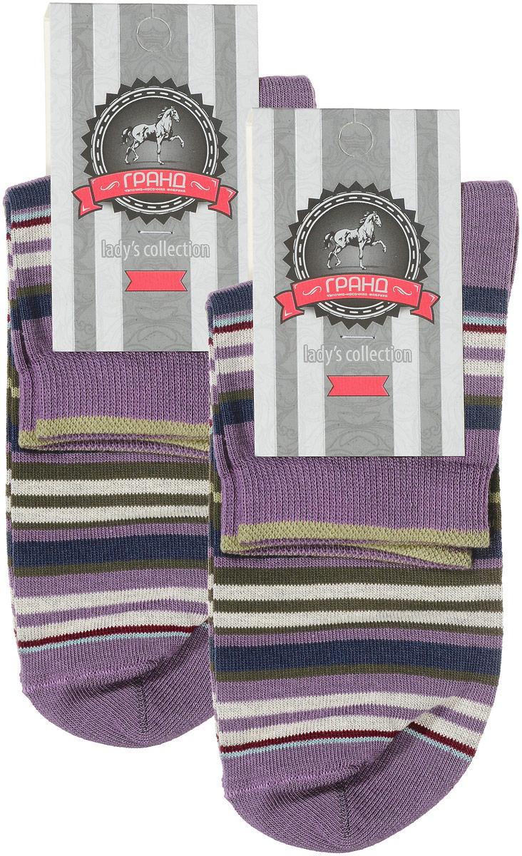 Носки женские Гранд, цвет: сиреневый, мультиколор, 2 пары. SCL66. Размер 23/25