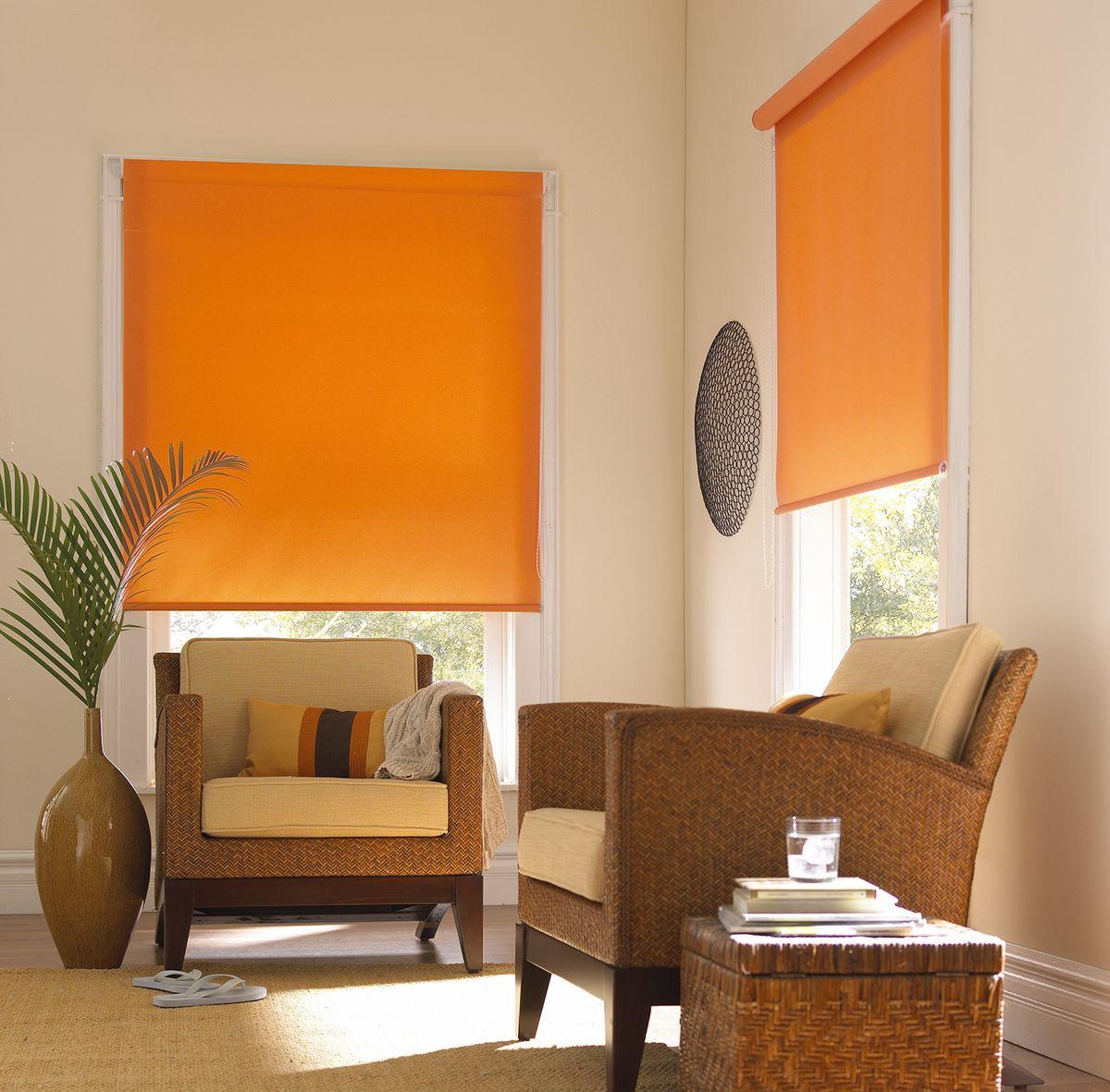 """Штора рулонная Эскар """"Миниролло. Однотонные"""", цвет: апельсин, ширина 83 см, высота 170 см"""