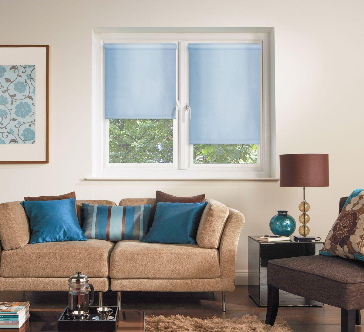 """Штора рулонная Эскар """"Миниролло. Однотонные"""", цвет: голубой, ширина 98 см, высота 170 см"""