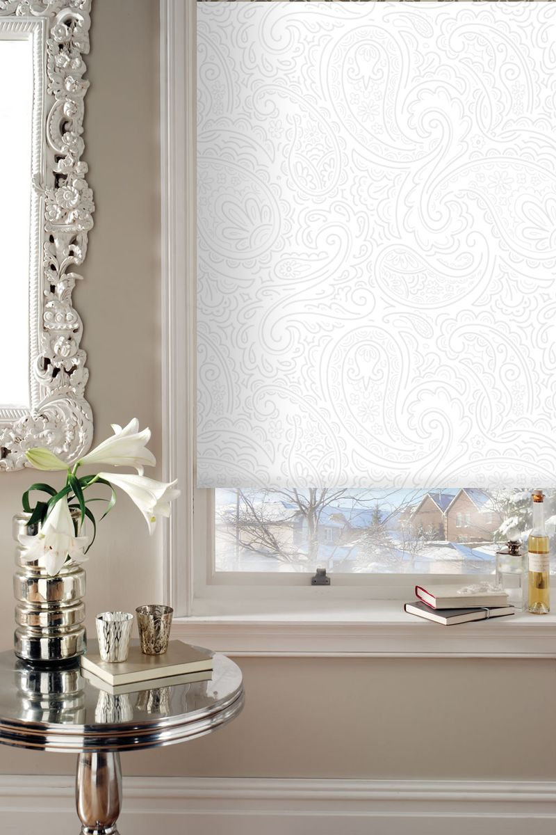 """Штора рулонная Эскар """"Миниролло. Арабеска"""", цвет: белый, ширина 98 см, высота 160 см"""