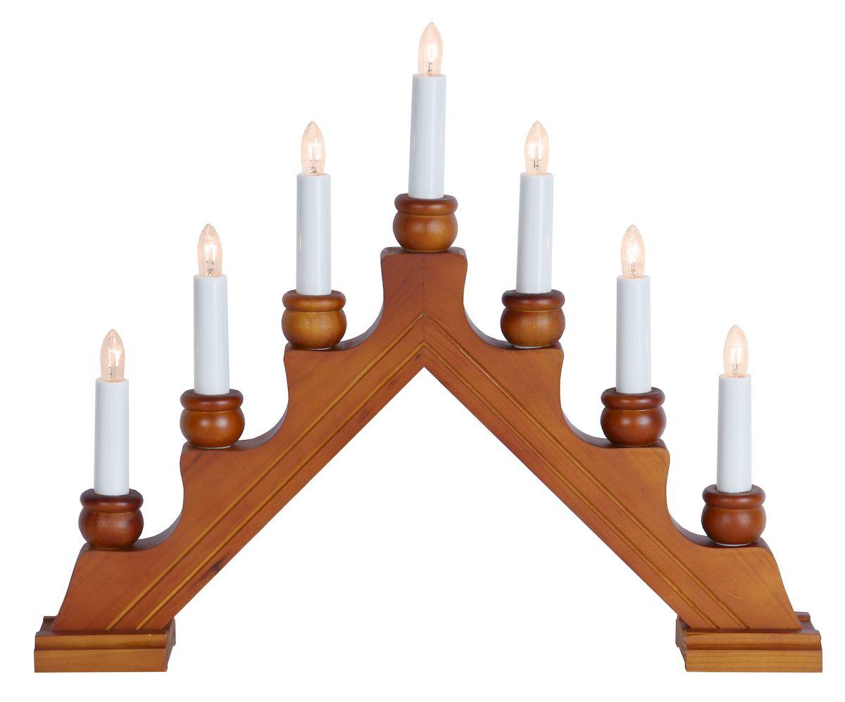Горка рождественская Svetlitsa Karin-7, цвет: светло-коричневый. 16-276-0616-276-06Праздничный светильник Svetlitsa Karin-7 выполнен из дерева в виде рождественской горки из 7 свечей. Светильник оригинально украсит интерьер помещения и создаст в вашем доме атмосферу уюта, любви и романтики, а также станет замечательным подарком. Работает от сети 220 V. Длина провода: 1,8 м. 7 ламп накаливания.Высота светильника: 23 см.Длина светильника: 42 см.