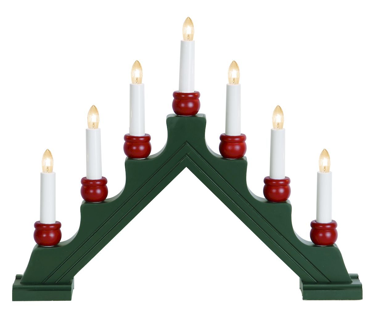Горка рождественская Svetlitsa Karin - 7, цвет: зеленый. 16-276-7116-276-717свечей выс/шир. 35х42см зеленый с красным, провод 1,8 м
