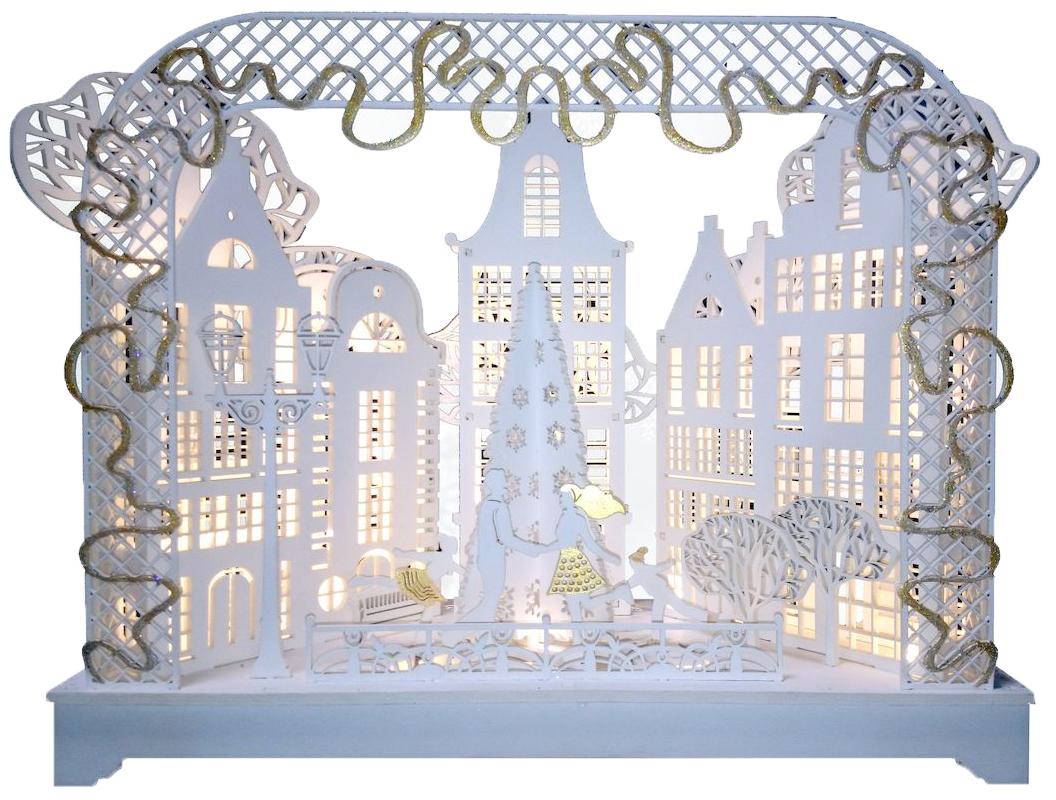 Декорация рождественская Svetlitsa Зимний вечер 3D, с подсветкой78-501Праздничная декорация Svetlitsa Зимний вечер выполнена из дерева в виде оригинальной композиции с новогодней елкой. Декорация оригинально украсит интерьер помещения и создаст в вашем доме атмосферу уюта, любви и романтики, а также станет замечательным подарком. Тип питания: 3 батарейки АА (не входят в комплект). Количество ламп: 20 LED. Высота светильника: 27 см.Длина светильника: 36 см.
