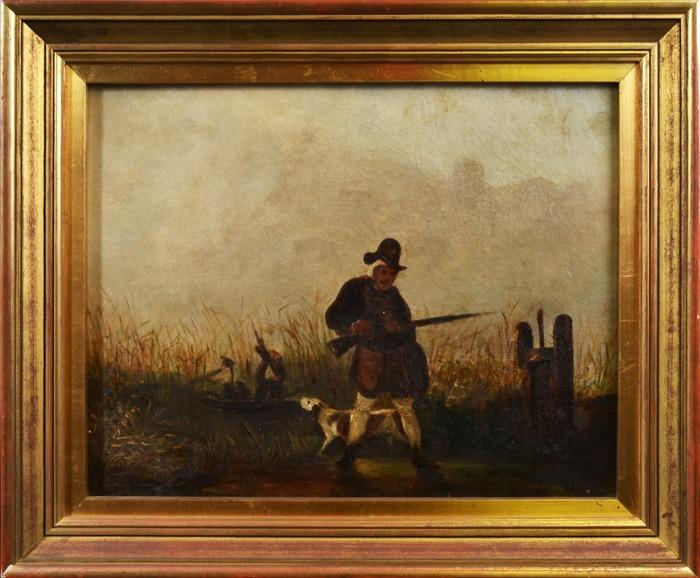 Картина Охотник с собакой (Chasseur et son chien). Масло, холст. Франция, 19 век гермомешок век охотник 50л 1324184