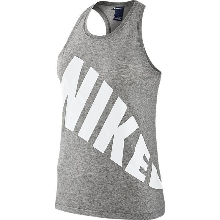 Майка женская Nike Nsw Top Tnk, цвет: серый. 804066-063. Размер XL (48/50)804066-063Майка Nike Nsw Top Tnk выполнена из хлопкового трикотажа. Круглый вырез, удлиненная спинка, крупный логотип бренда.