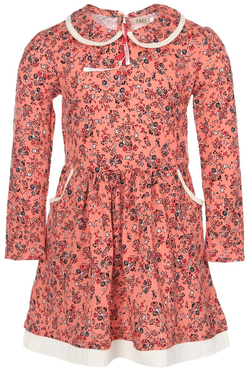 Платье для девочки M&D, цвет: оранжевый. WJD26049М-3. Размер 98WJD26049М-3Платье для девочки M&D выполнено из натурального хлопка. Модель средней длины с длинными рукавами имеет отложной воротник и застегивается на пуговицу на спинке. Платье оформлено оригинальным цветочным принтом. Модель дополнена двумя втачными карманами спереди, а также имеет эластичную резинку на талии.