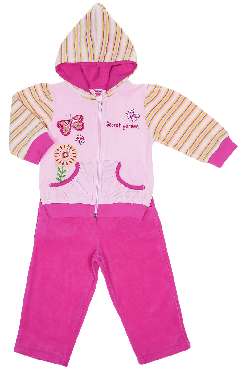 Комплект для девочки Unique: кофточка, штанишки, цвет: розовый. U1030-5. Размер 98U1030-5Комплект для девочки Unique состоит из кофточки и штанишек. Комплект выполнен из хлопка с добавлением полиэстера. Кофта с длинным рукавом и капюшоном застегивается на застежку-молнию. Низ и рукава кофточки дополнены трикотажными манжетами. Изделие украшено вышивкой в виде бабочек и цветка, а также надписью Secret Garden. Спереди расположены два накладных кармашка. Штанишки имеют широкий эластичный пояс. Брючины также дополнены эластичными манжетами. Изделие дополнено двумя втачными карманами спереди.
