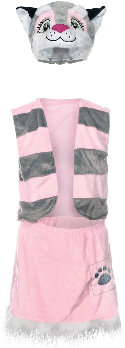 Карнавалия Карнавальный костюм для девочки Кошечка цвет розовый серый размер 122 шапочка кошечка розовая карнавалия