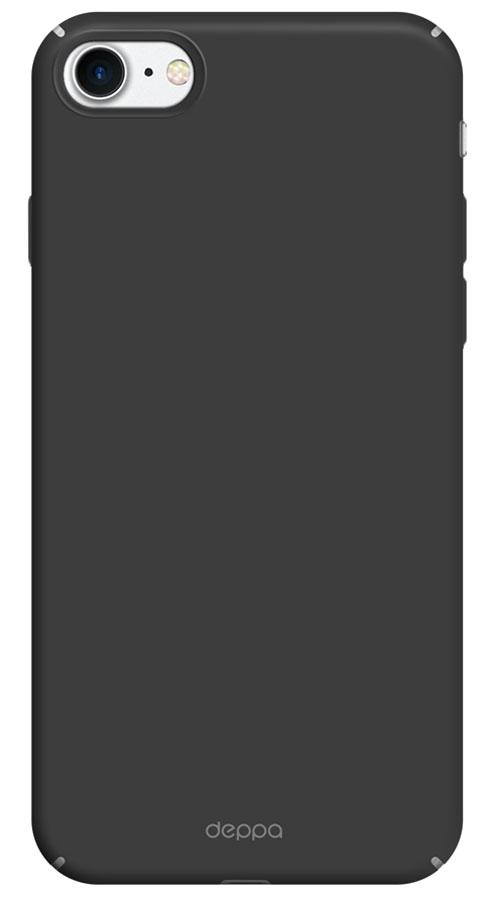 Deppa Air Case чехол для Apple iPhone 7/8, Black83267Чехол Deppa Air Case для Apple iPhone 7 - случай редкого сочетания яркости и чувства меры. Это стильная и элегантная деталь вашего образа,которая всегда обращает на себя внимание среди множества вещей. Благодаря покрытию soft touch чехол невероятно приятен на ощупь,поэтому смартфон не хочется выпускать из рук. Ультратонкий чехол (толщиной 1 мм) повторяет контуры самого девайса, при этом готовпринимать на себя удары - последствия непрерывного ритма городской жизни.