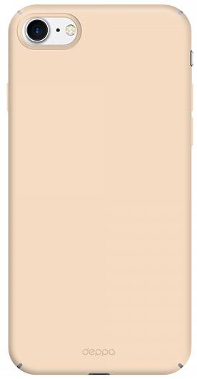 Deppa Air Case чехол для Apple iPhone 7/8, Gold83270Чехол Deppa Air Case для Apple iPhone 7 - случай редкого сочетания яркости и чувства меры. Это стильная и элегантная деталь вашего образа, которая всегда обращает на себя внимание среди множества вещей. Благодаря покрытию soft touch чехол невероятно приятен на ощупь, поэтому смартфон не хочется выпускать из рук. Ультратонкий чехол (толщиной 1 мм) повторяет контуры самого девайса, при этом готов принимать на себя удары - последствия непрерывного ритма городской жизни.