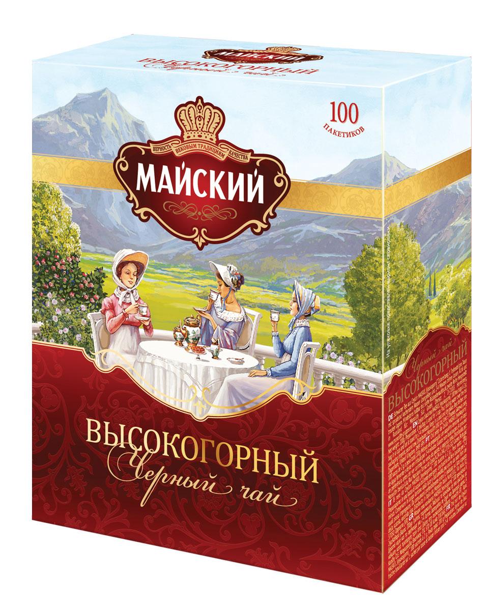 Майский Высокогорный черный чай в пакетиках, 100 шт майский коллекция изысканных вкусов чайное ассорти черный чай в пакетиках 30 шт
