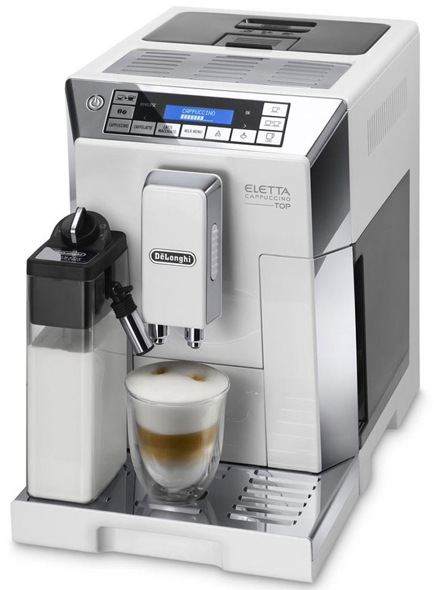 DeLonghi Eletta Cappuccino TOP ECAM 45.764.W кофемашина xeoleo commercial milk shake machine stainless steel milkshaker bubble tea stirring machine 30cup hr milk bubble mixer