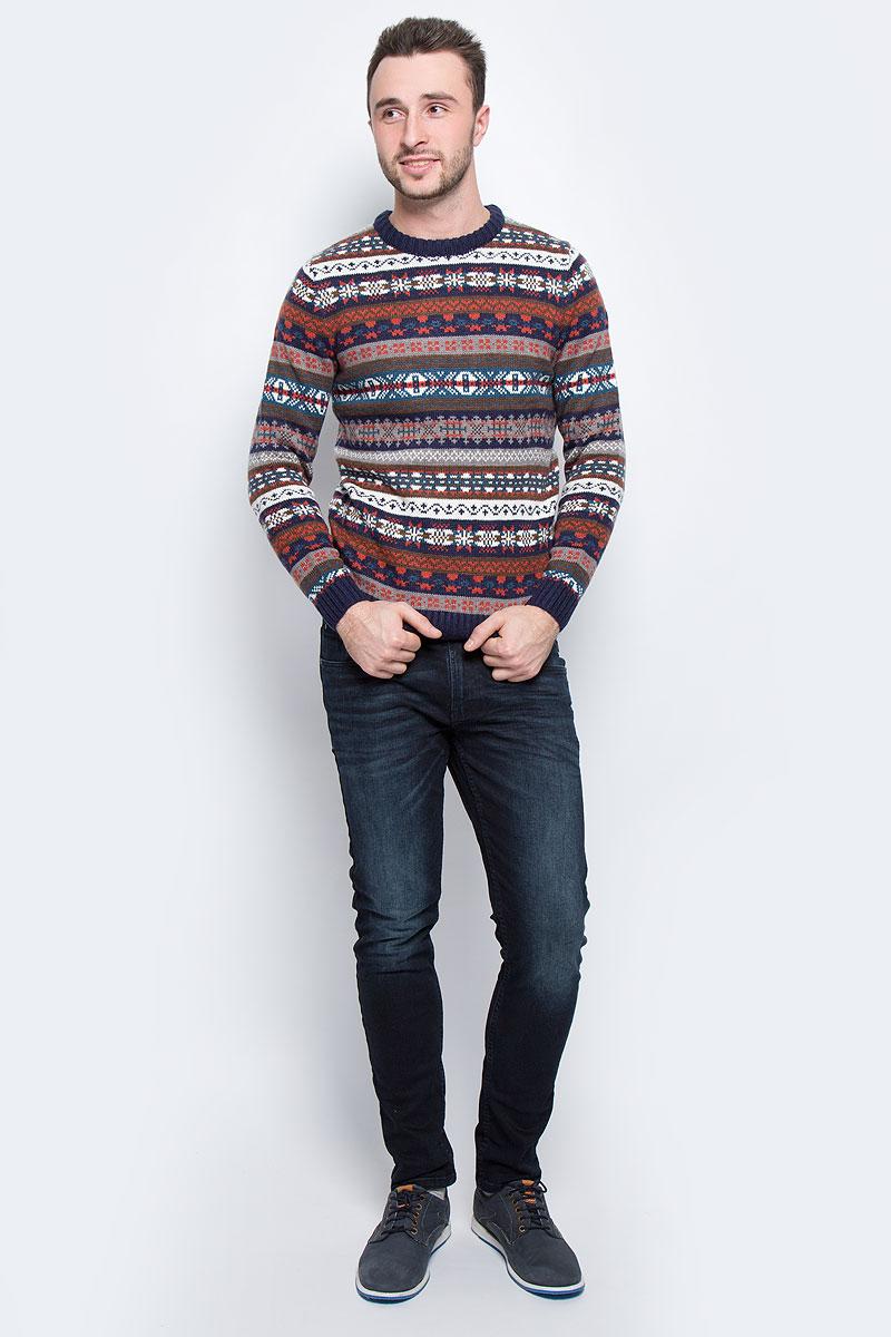 Джемпер мужской Tom Tailor, цвет: темно-синий, мультиколор. 3021300.00.10_6800. Размер XL (52) джемпер мужской tom tailor denim цвет бордовый 3022104 01 12 4257 размер xl 52