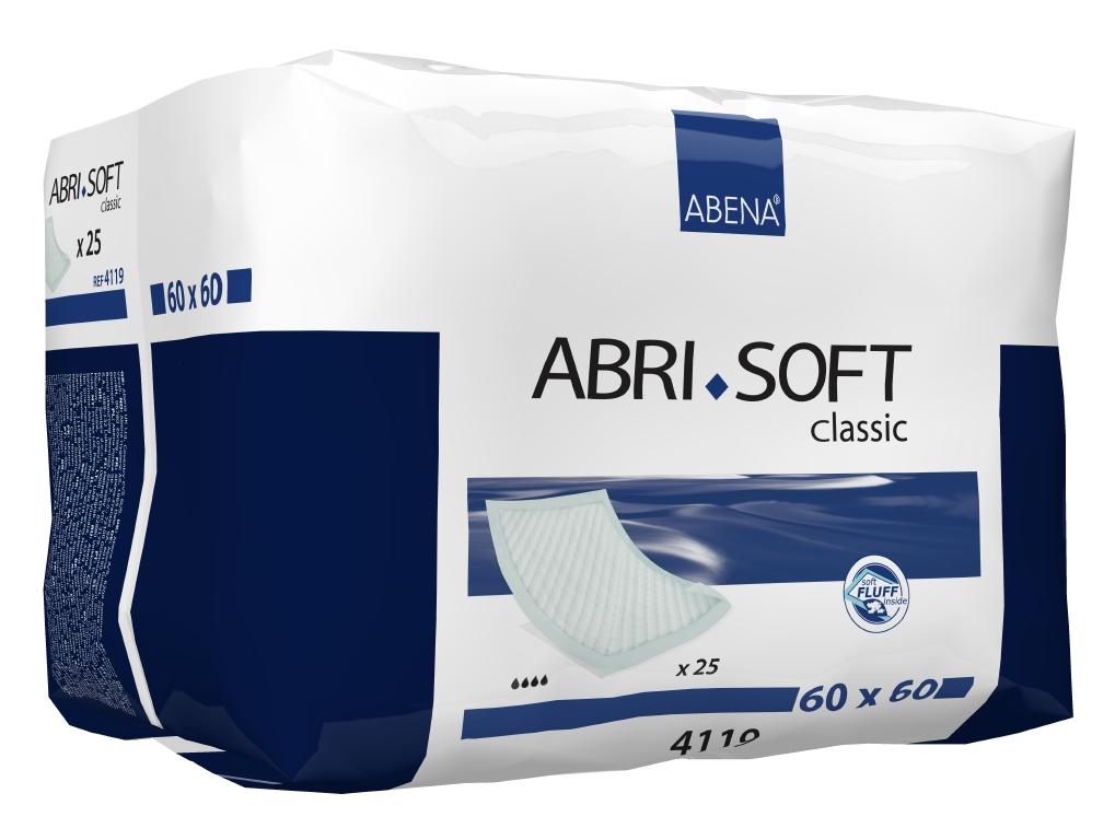 Abena Пеленка одноразовая Abri-Soft Classic 60 х 60 см 25 шт 41194119Впитывающие пеленки Abri-Soft Classic - изделие с высоким уровнем впитываемости, обеспечивает надежную защиту во время проведения длительных диагностических, гигиенических и медицинских процедур.Одноразовые впитывающие пеленки Abri-Soft подходят для защиты постельного белья и других поверхностей при проведении различных медицинских процедур, а также для использования в качестве дополнительной защиты постели и кресел во время смены прокладки или подгузника. Пеленки Abri-Soft состоят из водонепроницаемого полиэтиленового нижнего слоя, распушенного целлюлозного волокна, суперабсорбента (Abri-Soft Superdry) нетканого материала и герметичных кромок с четырех сторон для защиты от протекания.Преимущества Abri-Soft:- водопроницаемый внешний слой и герметичные кромки по периметру пеленки обеспечивают надежную защиту от протеканий;- волокно/суперабсорбирующий слой обеспечивают высокую степень впитываемости;- равномерно впитывают жидкость и не собираются в комочки;- надежная герметичная защита от протеканий благодаря полиэтиленовому слою;- мягкие и приятные к коже;- водопроницаемый внешний слой и герметичные кромки по периметру пеленки обеспечивают надежную защиту от протеканий;- впитывающий слой (более 2100 мл) состоит из 100% целлюлозного волокна, без хлорного отбеливания и суперсорбента;- суперабсорбент превращает жидкость в гель;- пеленка не содержит фталатов нижний защитный слой выполнен из водонепроницаемого полиэтилена голубого цвета, защищает от протеканий.Пеленки Abri-Soft представлены в разных размерах и уровнях впитываемости.В линейке Abri-Soft 4 вида пеленок: Abri-Soft Eco - экономичное изделие, впитывающее небольшое количество жидкости. Abri-Soft Basic - изделие с базовым (средним) уровнем впитываемости. Abri-Soft Classic - изделие с высоким уровнем впитываемости. Abri-Soft Superdry - изделие повышенной впитываемости за счет добавления суперабсорбента.