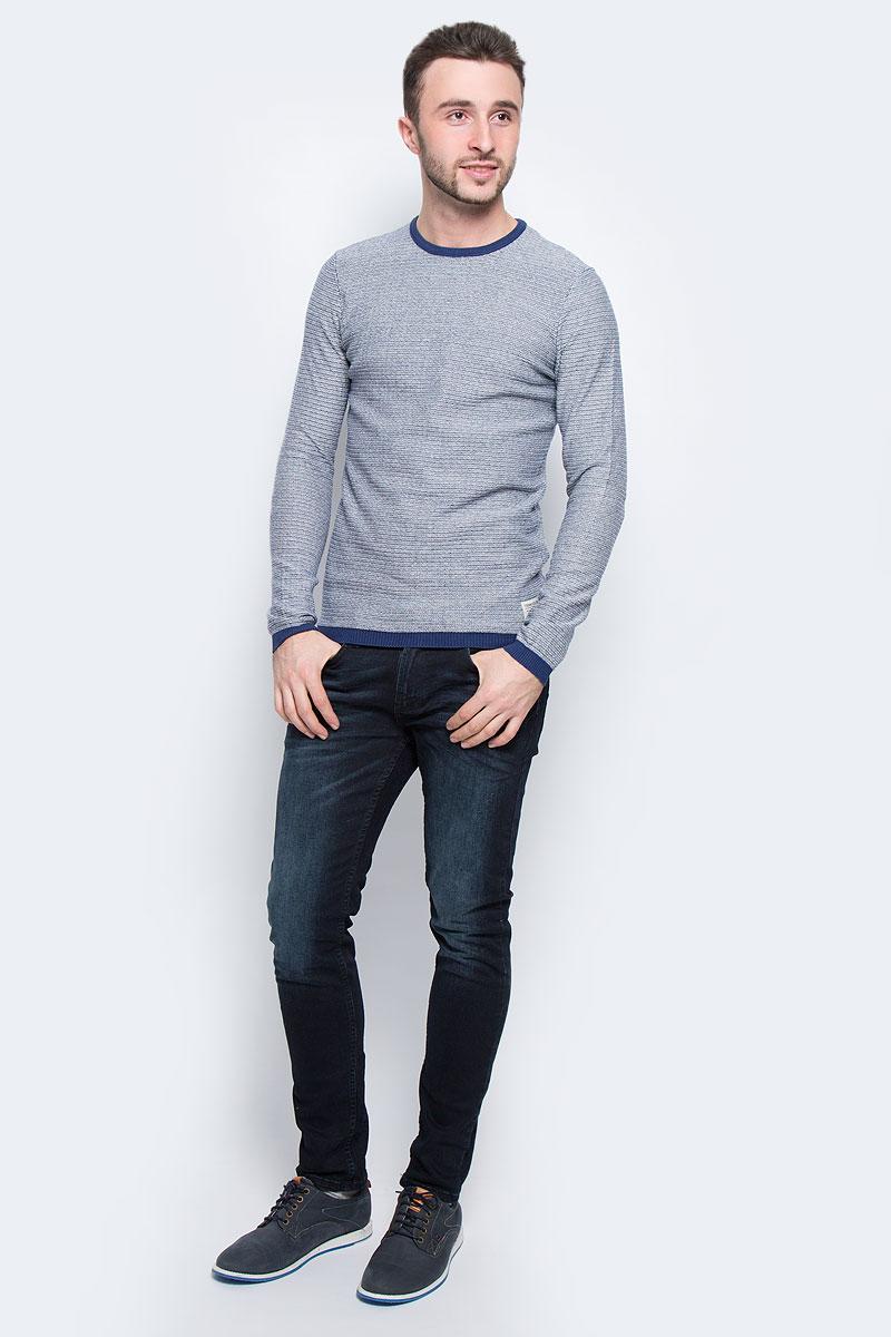 Джемпер мужской Tom Tailor Denim, цвет: белый, темно-синий. 3021631.00.12_8452. Размер XL (52) джемпер мужской tom tailor denim цвет бордовый 3022104 01 12 4257 размер xl 52
