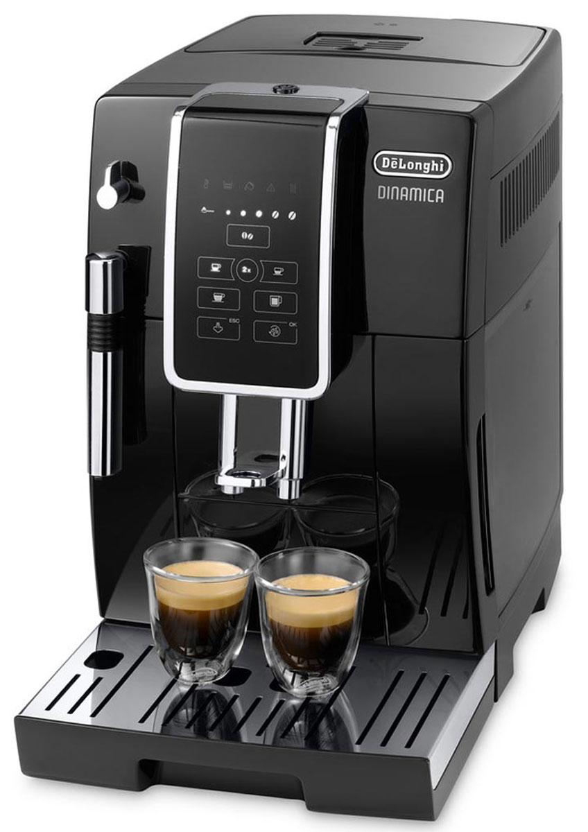 DeLonghi Dinamica ECAM 350.15.B кофемашинаECAM350.15.BКофемашина Dinamica ECAM 350.15B от DeLonghi - красива, роскошна, пользоваться ей легко и приятно.Автоматическая кофемашина De Longhi ECAM 350.15.B из серии Dinamica – современная модель, которую можно использовать как дома, так и в офисе. Она быстро готовит ваш любимый кофе в автоматическом режиме.Кофемашина готовит четыре предустановленных напитка: кофе, эспрессо, лунго/американо и доппио (двойной эспрессо). Владелец может регулировать крепость и температуру выбранного напитка.Разработчики предусмотрели ручной капучинатор, позволяющий готовить классический капучино с красивой и устойчивой молочной пеной.Кофемашина оснащена компактным заварочным блоком, который при необходимости легко снимается и моется. Решётка для капель также является съёмной, причём её можно мыть в посудомоечной машине.Панель управления с подсвечивающимися кнопками и иконками позволяет быстро выбрать нужный напиток, отрегулировать его крепость и температуру. На освоение системы управления не потребуется много времени.Эта модель способна готовить две порции одновременно, что особенно удобно в том случае, если владелец любит пить кофе в компании.Встроенная кофемолкаВместимость резервуара для зерен: 300 гВместимость контейнера для гущи: 14 порцийСъемный компактный блок приготовления вместимостью от 6 до 14 г кофеНастройка крепости и температуры напитковСъемный резервуар для капель с индикацией заполненностиПрограммируемая жесткость водыРегулировка дозатора под высоту чашки: 84 - 135 ммДекальцинация, автоматическая промывка и ополаскивание
