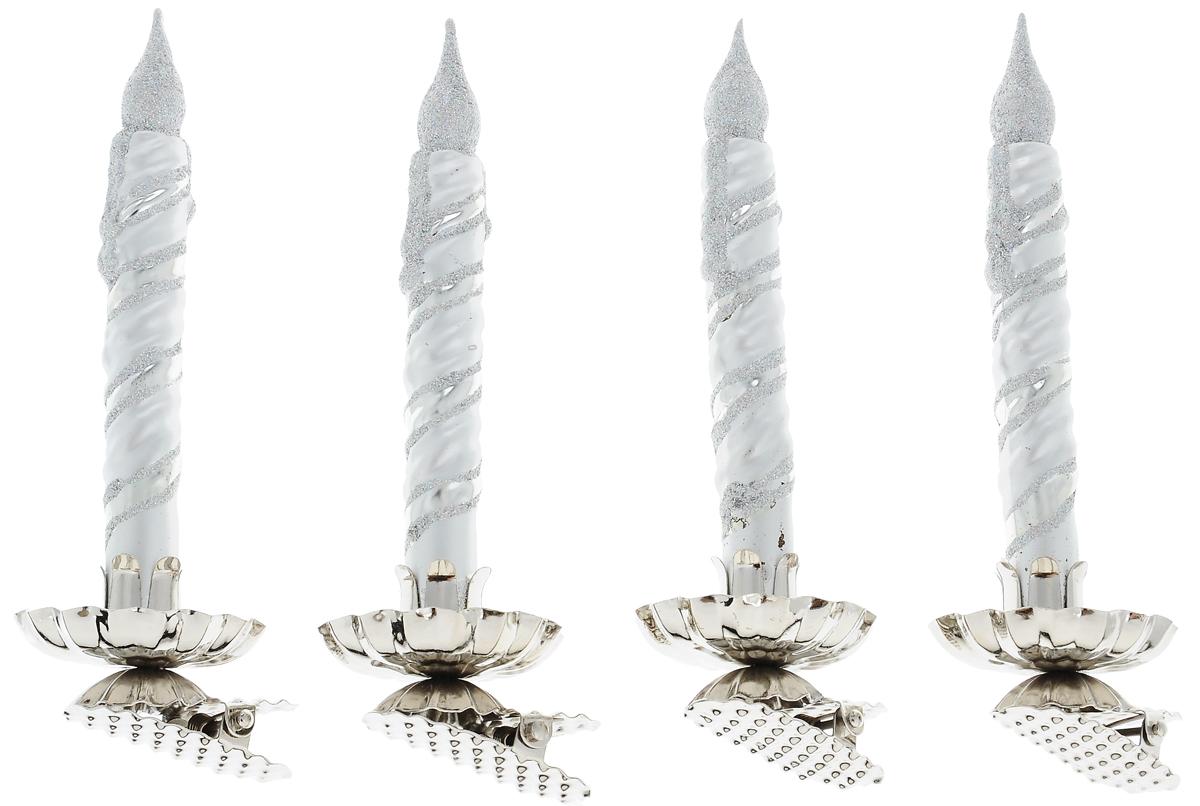 Украшение новогоднее подвесное Winter Wings Свечка, высота 14 см, 4 штN07639Новогоднее подвесное украшение Winter Wings Свечка выполнено из стекла в виде свечи и украшено блестками. С помощью специальной прищепки украшение можно повесить в любом понравившемся вам месте. Но, конечно, удачнее всего оно будет смотреться на праздничной елке.Елочная игрушка - символ Нового года. Она несет в себе волшебство и красоту праздника. Создайте в своем доме атмосферу веселья и радости, украшая новогоднюю елку нарядными игрушками, которые будут из года в год накапливать теплоту воспоминаний.Размер одного украшения: 14 х 4 х 5 см