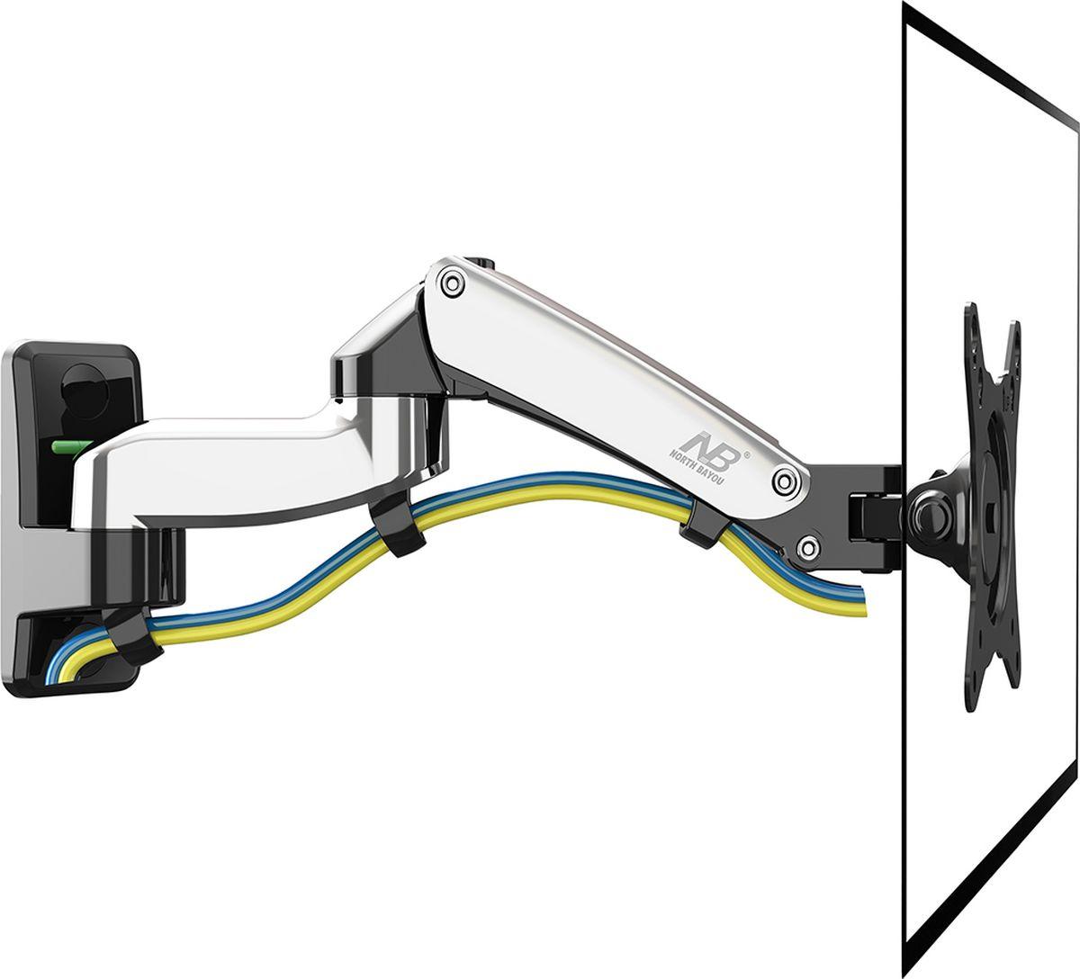 North Bayou NB F150, Chrome кронштейнNB F150 хромированныйНастенный наклонно-поворотный кронштейн с регулировкой по высоте North Bayou NB F150 подходит длятелевизоров сдиагональю 17-27 и является самым компактным и лёгким из линейки кронштейнов NB серии F с тремя степенямисвободы, выделяясь тем, что рассчитан на небольшие телевизоры с весом от 2 до 7 кг. Благодаря встроеннойгазовой пружине вы можете с лёгкостью перемещать телевизор не только влево и вправо, но и вверх и вниз, приэтом не прилагая усилий и не производя дополнительной фиксации. Именно технологии надёжных осевыхсоединений с газовой пружиной позволят вам отрегулировать положение телевизора для самого комфортногопросмотра.