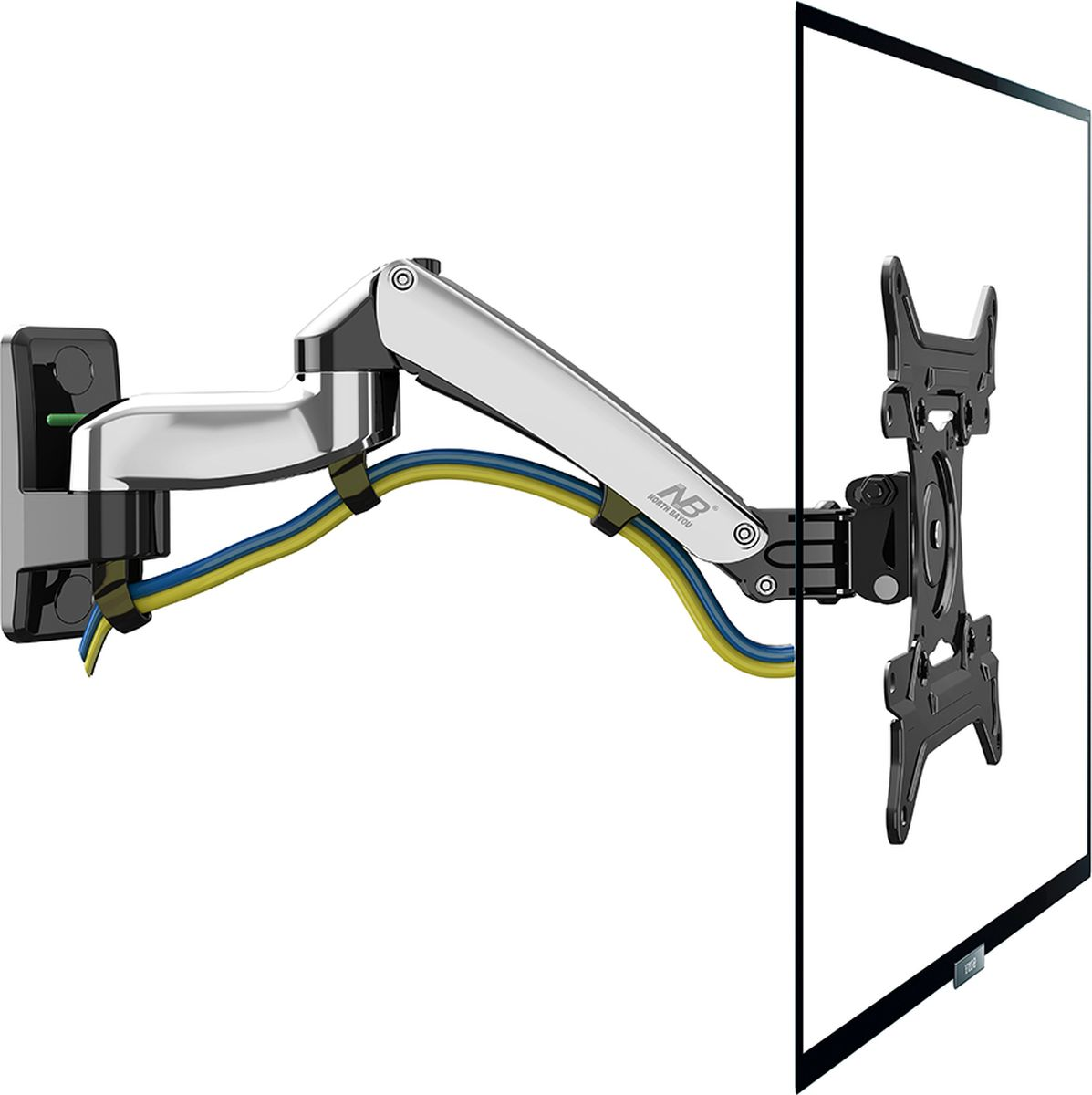 North Bayou NB F300, Chrome кронштейнNB F300 хромированныйНастенный наклонно-поворотный кронштейн с регулировкой по высоте North Bayou NB F300 подходит для телевизоров с диагональю 30-40 и с весом от 5 до 10 кг. Благодаря встроенной газовой пружине вы можете с лёгкостью перемещать телевизор не только влево и вправо, но и вверх и вниз, при этом не прилагая усилий и не производя дополнительной фиксации. Именно технологии надёжных осевых соединений с газовой пружиной позволят вам отрегулировать положение телевизора для самого комфортного просмотра.