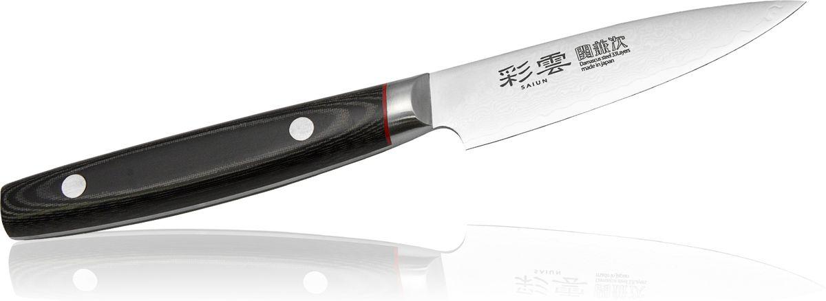 Нож овощной Kanetsugu Saiun Damascus, 90 мм9000Kanetsugu Saiun Damascus - это профессиональный поварской нож. Главные особенности - криообработка клинка и линзовидная заточка режущей кромки. Лезвие выполнено из 33 слоев стали. Подобная технология производства позволяет получать нож с безупречной остротой режущей кромки, сохраняющейся в течение длительного периода времени. Рукоять выполнена из микарты. Имеется металлический больстер, защищающий от попадания пищи и влаги под рукоять.Правила эксплуатации: - Хранить нож следует в сухом месте. - После использования, промойте нож теплой водой и протрите насухо. - Оставление ножа в загрязненном состоянии может привести к образованию коррозии. Запрещается: - Мыть нож в посудомоечной машине. - Хранить ножи в одной емкости со столовыми приборами. - Резать на твердых поверхностях: каменных столешницах, керамических тарелках, акриловых досках. - Запрещается нецелевое использование ножа: вскрывать консервные банки, разрезать кости, скоблить твердые поверхности, резать замороженные продукты. Правка производится легкими движениями на водном камне или мусате. Заточка ножа - сложный технологический процесс, должен производиться профессионалом на специальном оборудовании. Услуга по заточке ножа предоставляется специалистами компании «Тоджиро». Уважаемые клиенты! В случае несоблюдения правил эксплуатации, нож не подлежит гарантийному обслуживанию.