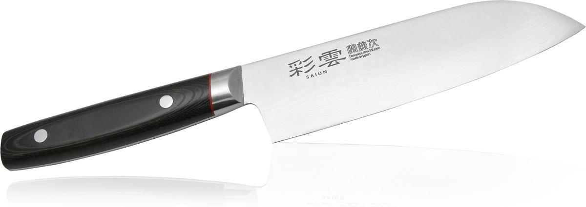 Нож Сантоку Kanetsugu Saiun Damascus, 170 мм9003Kanetsugu Saiun Damascus - это профессиональный поварской нож. Главные особенности - криообработка клинка и линзовидная заточка режущей кромки. Лезвие выполнено из 33 слоев стали. Подобная технология производства позволяет получать нож с безупречной остротой режущей кромки, сохраняющейся в течение длительного периода времени. Рукоять выполнена из микарты. Имеется металлический больстер, защищающий от попадания пищи и влаги под рукоять.Правила эксплуатации: - Хранить нож следует в сухом месте. - После использования, промойте нож теплой водой и протрите насухо. - Оставление ножа в загрязненном состоянии может привести к образованию коррозии. Запрещается: - Мыть нож в посудомоечной машине. - Хранить ножи в одной емкости со столовыми приборами. - Резать на твердых поверхностях: каменных столешницах, керамических тарелках, акриловых досках. - Запрещается нецелевое использование ножа: вскрывать консервные банки, разрезать кости, скоблить твердые поверхности, резать замороженные продукты. Правка производится легкими движениями на водном камне или мусате. Заточка ножа - сложный технологический процесс, должен производиться профессионалом на специальном оборудовании. Услуга по заточке ножа предоставляется специалистами компании «Тоджиро». Уважаемые клиенты! В случае несоблюдения правил эксплуатации, нож не подлежит гарантийному обслуживанию.