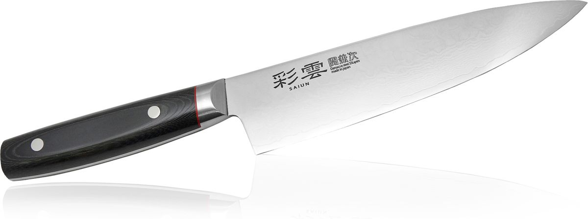 Нож Шеф Kanetsugu Saiun Damascus, 230 мм9006Kanetsugu Saiun Damascus - это профессиональный поварской нож. Главные особенности - криообработка клинка и линзовидная заточка режущей кромки. Лезвие выполнено из 33 слоев стали. Подобная технология производства позволяет получать нож с безупречной остротой режущей кромки, сохраняющейся в течение длительного периода времени. Рукоять выполнена из микарты. Имеется металлический больстер, защищающий от попадания пищи и влаги под рукоять.Правила эксплуатации: - Хранить нож следует в сухом месте. - После использования, промойте нож теплой водой и протрите насухо. - Оставление ножа в загрязненном состоянии может привести к образованию коррозии. Запрещается: - Мыть нож в посудомоечной машине. - Хранить ножи в одной емкости со столовыми приборами. - Резать на твердых поверхностях: каменных столешницах, керамических тарелках, акриловых досках. - Запрещается нецелевое использование ножа: вскрывать консервные банки, разрезать кости, скоблить твердые поверхности, резать замороженные продукты. Правка производится легкими движениями на водном камне или мусате. Заточка ножа - сложный технологический процесс, должен производиться профессионалом на специальном оборудовании. Услуга по заточке ножа предоставляется специалистами компании «Тоджиро». Уважаемые клиенты! В случае несоблюдения правил эксплуатации, нож не подлежит гарантийному обслуживанию.