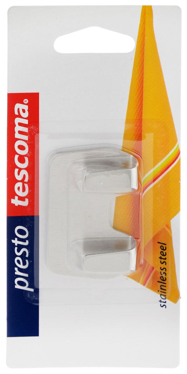 """Крючки Tescoma """"Presto"""" выполнены из нержавеющей стали и предназначены для размещения на стене. Изделие отлично подойдет для подвешивания кухонных принадлежностей: полотенец, рукавиц, прихваток и других мелких предметов.Самоклеящиеся крючки легко прикреплять и удобно использовать, после снятия не оставляют следов на поверхности.Размер изделия: 5,5 х 3,5 х 1,3 см."""