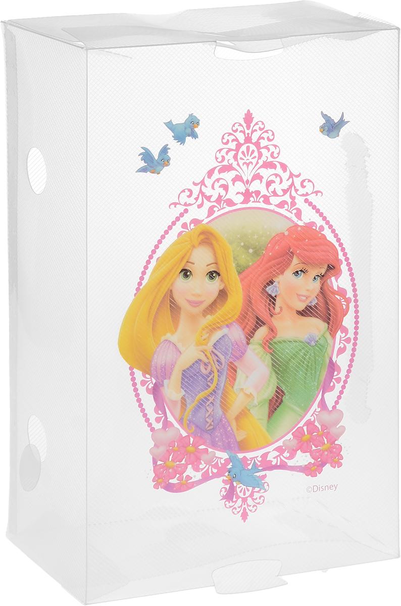 Коробка для хранения обуви Home Queen Принцессы, 30 х 18 х 10 см. 60327_прозрачный, розовый60327_прозрачный, розовыйКоробка Home Queen Принцессы изготовлена из высококачественного прозрачного полипропилена. Она специально предназначена для хранения обуви. Верхняя сторона коробки украшена изображением Рапунцель и Ариэль. Изделие легко собирается и не занимает много места. С помощью боковой крышки можно доставать обувь, не снимая коробку с полки.Коробка для хранения Home Queen Принцессы- идеальное решение для аккуратного хранения вашей обуви в межсезонье.Размер коробки (в собранном виде): 30 х 18 х 10 см.